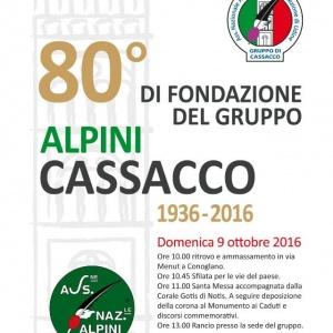 80° di fondazione del gruppo Alpini Cassacco