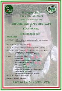 Deposizione Cippo dedicato a Luca Sanna